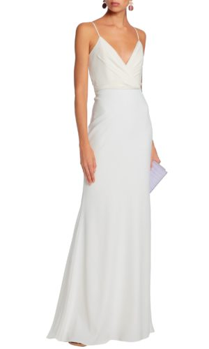 BADGLEY MISCHKA Wrap-effect crepe gown - Robe de mariée pas cher - The Wedding Explorer