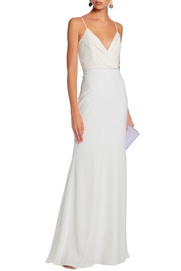 BADGLEY MISCHKA Wrap-effect crepe gown - Robe de mariée pas cher - The Wedding Explorer