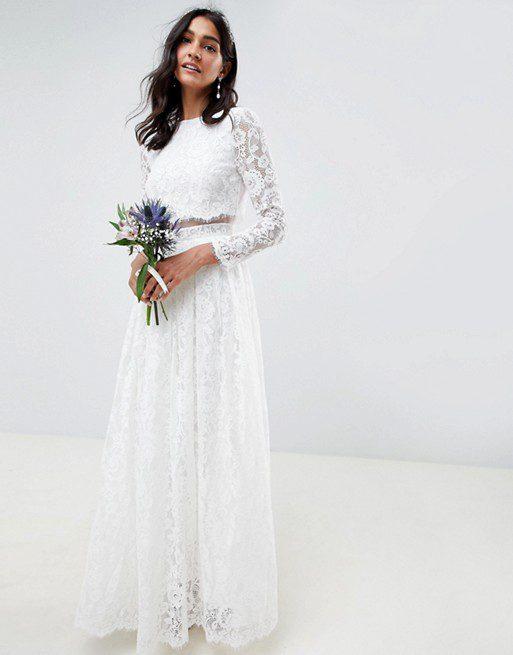 ASOS EDITION - Robe longue de mariée en dentelle avec top court à manches longues - Robe de mariée pas cher - The Wedding Explorer