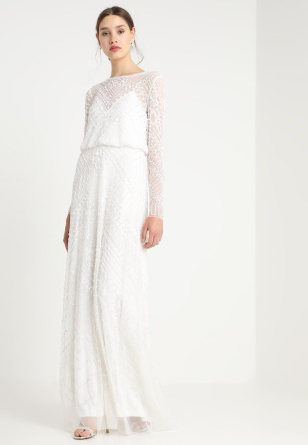 Adrianna Papell - Robe de mariée perles manches longues - Robe de mariée pas cher - The Wedding Explorer