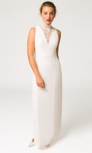 IVY & OAK - DEEP V-NECK BRIDAL EVENING DRESS - Robe de mariée pas cher - The Wedding Explorer
