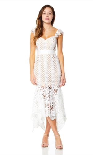 JARLO - Renee All Over Cutwork Lace Midi Dress - Robe de mariée pas cher - The Wedding Explorer