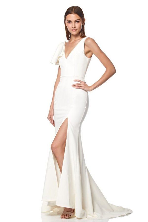 JARLO - Jacey Shoulder Ruffle Maxi Dress with Thigh Split - Robe de mariée pas cher - The Wedding Explorer