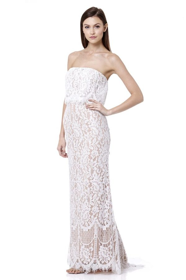 JARLO - Adeline All Over Lace Bandeau Maxi Dres - Robe de mariée pas cher - The Wedding Explorer