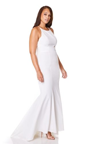 JARLO - Addilyn Fishtail Maxi Dress with Lace Button Back Detail - Robe de mariée pas cher - The Wedding Explorer