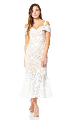 JARLO - Abiona All Over Lace Cold Shoulder Midi Dress - Robe de mariée pas cher - The Wedding Explorer