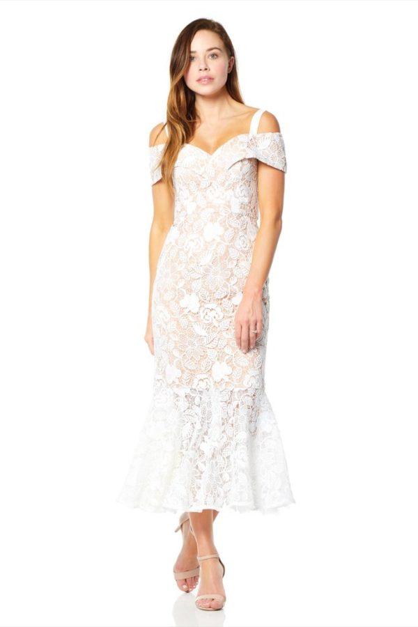JARLO - Abiona All Over Lace Cold Shoulder Midi Dress - Robe de mariée pas cher - The Wedding Explorer