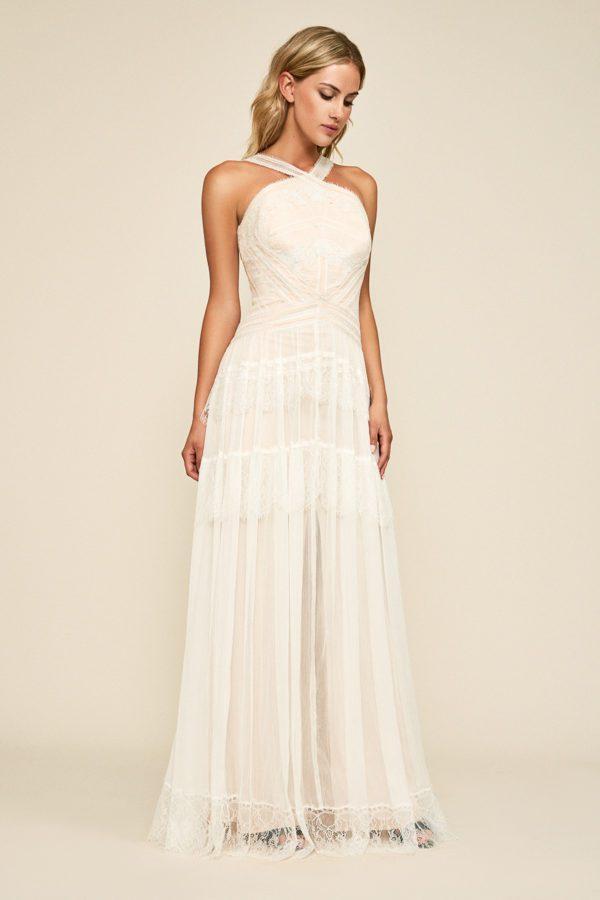 Tadashi Shoji - Kaine Crossback Chiffon Gown - Robe de mariée pas cher - The Wedding Explorer
