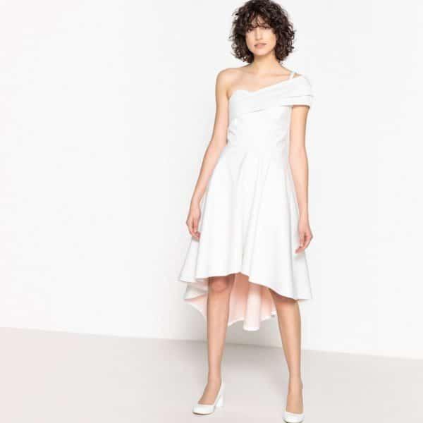 MADEMOISELLE R - Robe de mariée épaule dénudée asymétrique, nœud dos - Robe de mariée pas cher - The Wedding Explorer