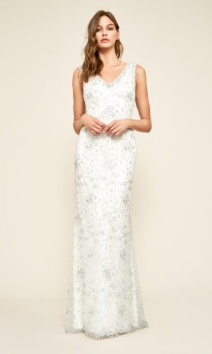 Tadashi Shoji - Chiron Metallic Embroidered Lace Gown - Robe de mariée pas cher - The Wedding Explorer