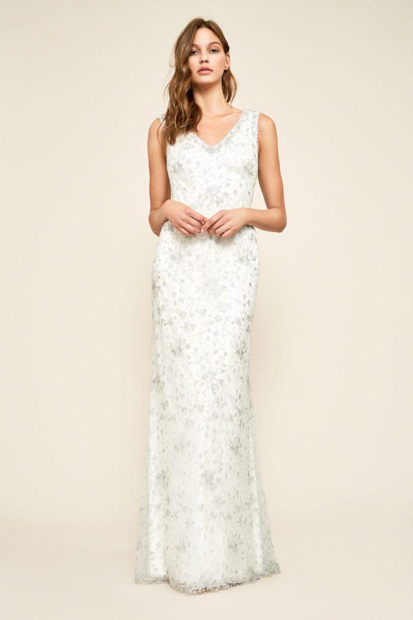 Tadashi Shoji - Chiron Metallic Embroidered Lace Gown - Robe de mariée pas cher - The Wedding Explorer