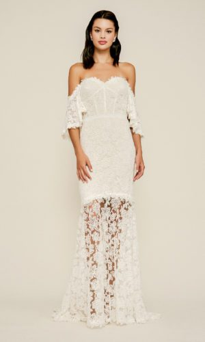 Tadashi Shoji - Madryn Embroidered Off-The-Shoulder Gown - Robe de mariée pas cher - The Wedding Explorer