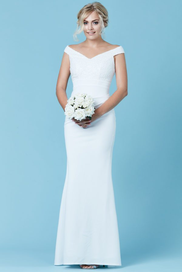 GODDIVA - OFF THE SHOULDER SEQUIN MAXI WEDDING DRESS - Robe de mariée pas cher - The Wedding Explorer