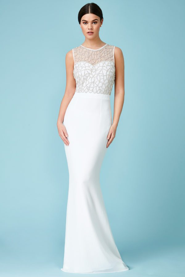 GODDIVA - EMBELLISHED CUT OUT BACK CHIFFON WEDDING MAXI DRESS - Robe de mariée pas cher - The Wedding Explorer