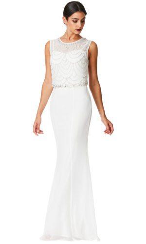 GODDIVA - EMBELLISHED CHIFFON MAXI DRESS - Robe de mariée pas cher - The Wedding Explorer