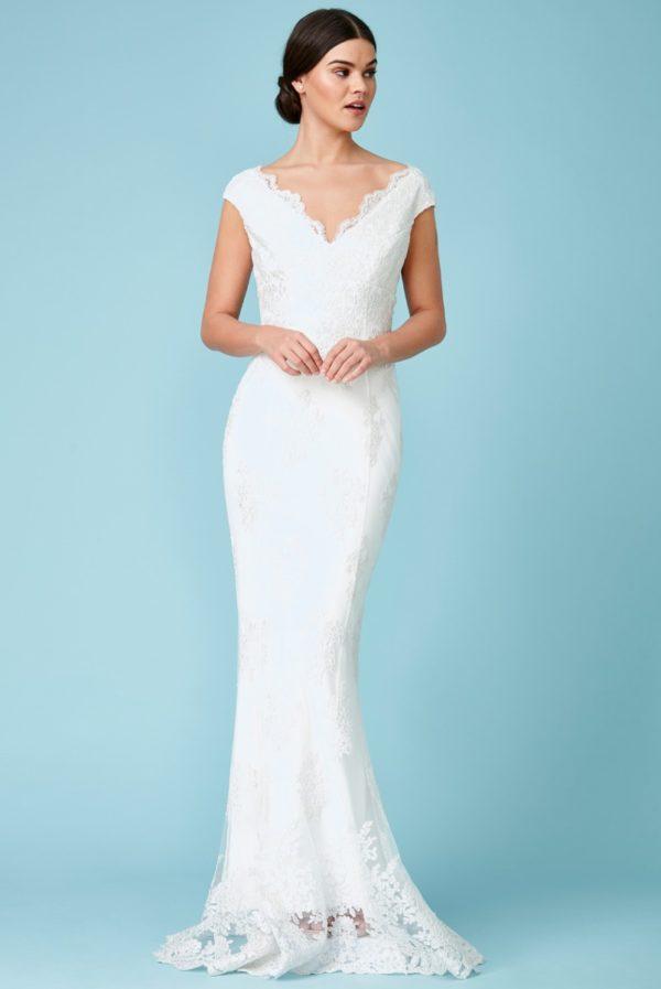 GODDIVA - OFF THE SHOULDER EMBROIDERED LACE WEDDING MAXI DRESS - Robe de mariée pas cher - The Wedding Explorer