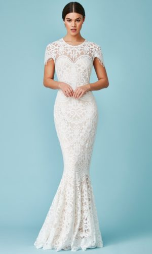 GODDIVA - CAP SLEEVE LACE MAXI WEDDING DRESS - Robe de mariée pas cher - The Wedding Explorer