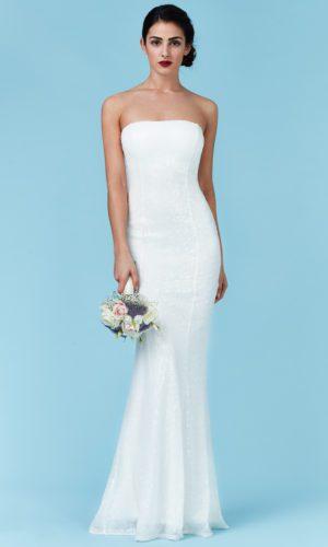 GODDIVA - BANDEAU SEQUIN MAXI WEDDING DRESS - Robe de mariée pas cher - The Wedding Explorer