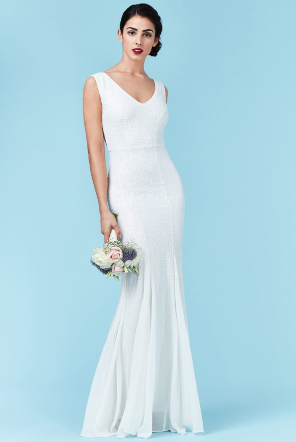GODDIVA - SEQUIN AND CHIFFON MAXI WEDDING DRESS - Robe de mariée pas cher - The Wedding Explorer