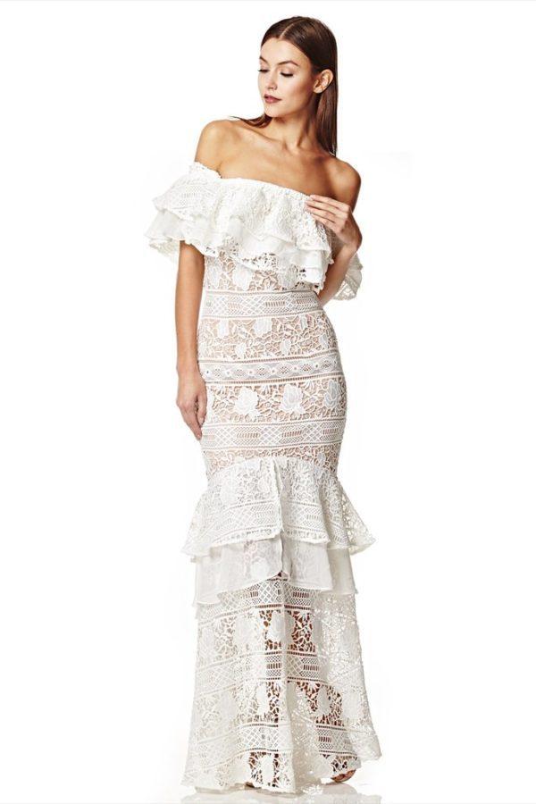 JARLO - Vita Bardot Lace Maxi Dress - Robe de mariée pas cher - The Wedding Explorer