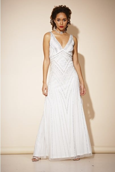FROCK & FRILL - Teona Sequin White Maxi Dress - Robe de mariée pas cher - The Wedding Explorer