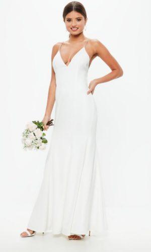 MISSGUIDED - Robe de mariée longue blanche à bretelles diamantées - Robe de mariée pas cher - The Wedding Explorer