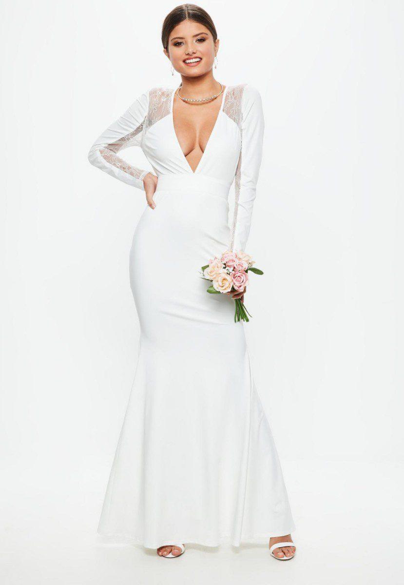 da2baef3f97 Robe de mariée MISSGUIDED - Robe de mariée décolleté et dos nu