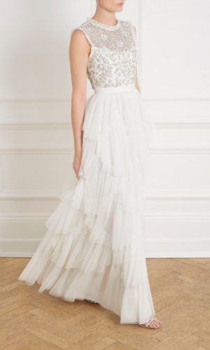 NEEDLE & THREAD - SCALLOP TIERED SLEEVELESS GOWN - Robe de mariée pas cher - The Wedding Explorer