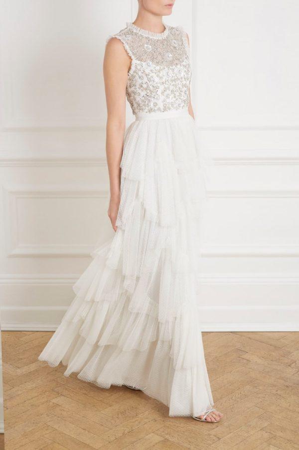 NEEDLE & THREAD - SCALLOP TIERED SLEEVELESS GOWN - Robe de mariée pas cher - The Wedding Explorer