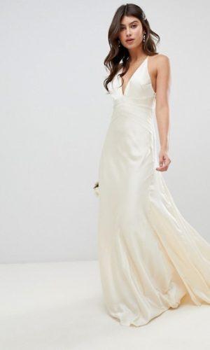 ASOS EDITION - Robe de mariée style sirène en satin avec empiècements - Robe de mariée pas cher - The Wedding Explorer