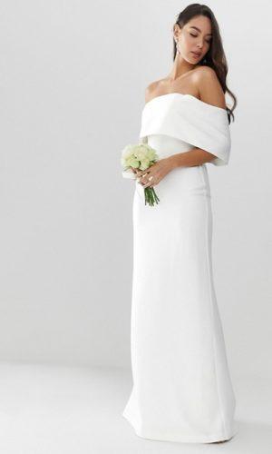 ASOS EDITION - Robe de mariée droite en crêpe à épaules dénudées - Robe de mariée pas cher - The Wedding Explorer