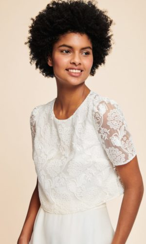 Tara Jarmon x Donatelle Godart - Crop Top Lisa en tulle brodé - Robe de mariée pas cher - The Wedding Explorer