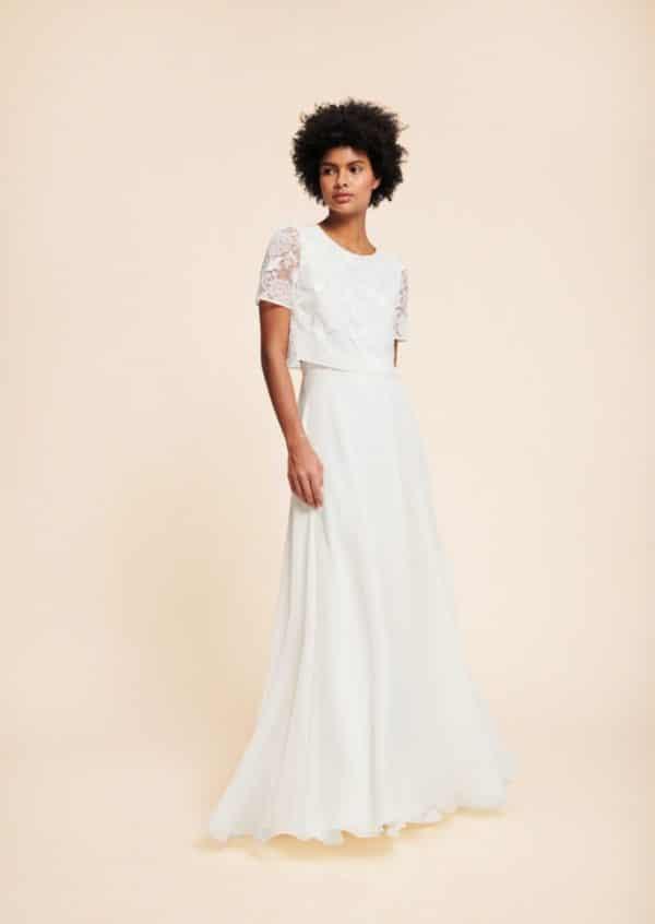 Tara Jarmon x Donatelle Godart - Jupe Maud en mousseline de soie - Robe de mariée pas cher - The Wedding Explorer