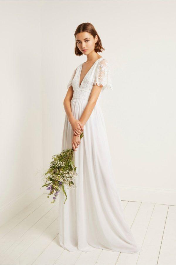 French Connection - Emelina embellished V neck dress - Robe de mariée pas cher - The Wedding Explorer