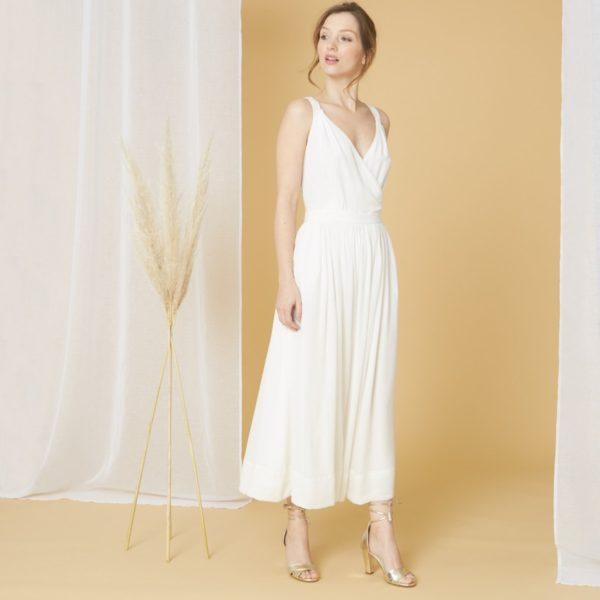 Laure de Sagazan x Monoprix - Robe de mariée en soie dos croisé - Robe de mariée pas cher - The Wedding Explorer