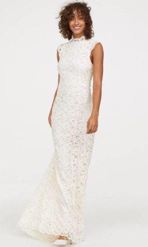 H&M - Robe longue en dentelle col haut - Robe de mariée pas cher - The Wedding Explorer