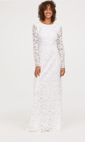 H&M - Robe de mariée longue en dentelle manches longues - Robe de mariée pas cher - The Wedding Explorer