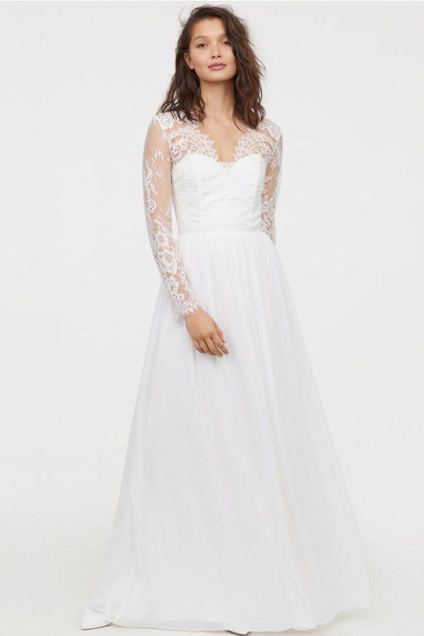H&M - Robe longue en dentelle - Robe de mariée pas cher - The Wedding Explorer