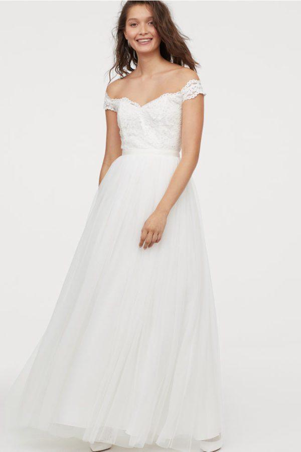 H&M - Robe longue en dentelle et tulle - Robe de mariée pas cher - The Wedding Explorer