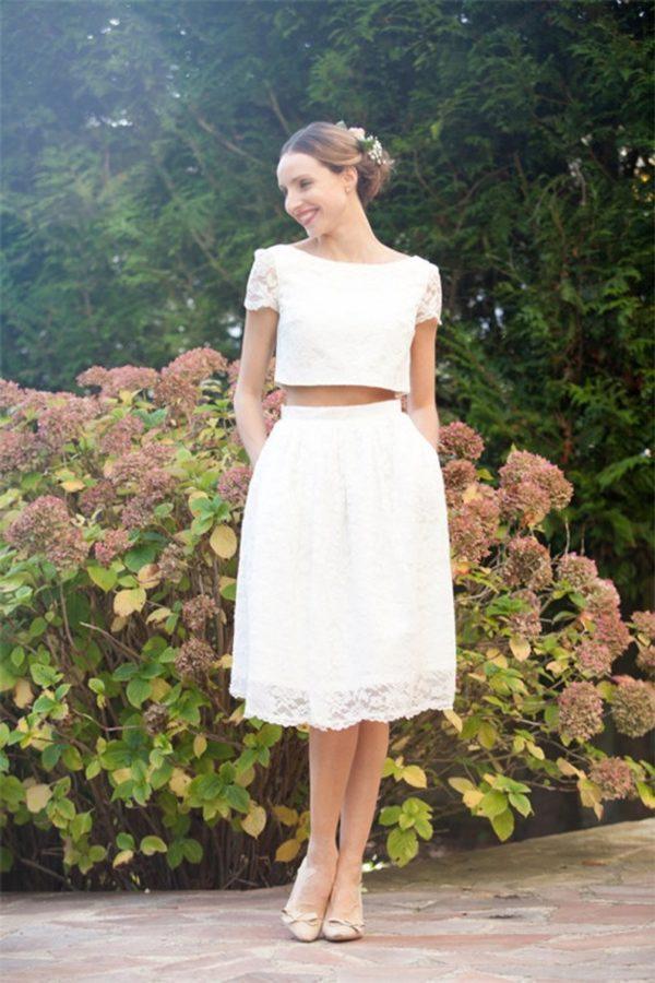 Robe de mariée courte deux pièces - Alesandra Paris - Robe de mariée Etsy - Robe de mariée pas cher - The Wedding Explorer