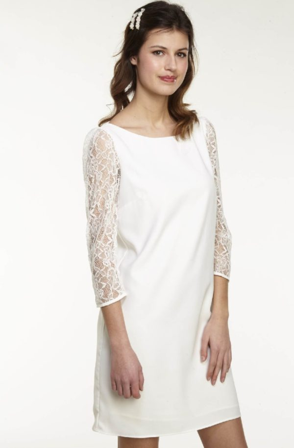 NAF NAF - Robe droite manches en dentelles ecru - Robe de mariée pas cher - The Wedding Explorer