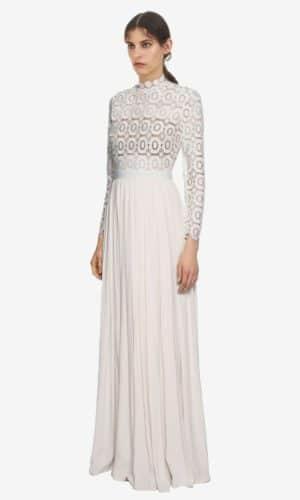 Self Portrait - Pleated crochet floral maxi dress - Robe de mariée pas cher - The Wedding Explorer