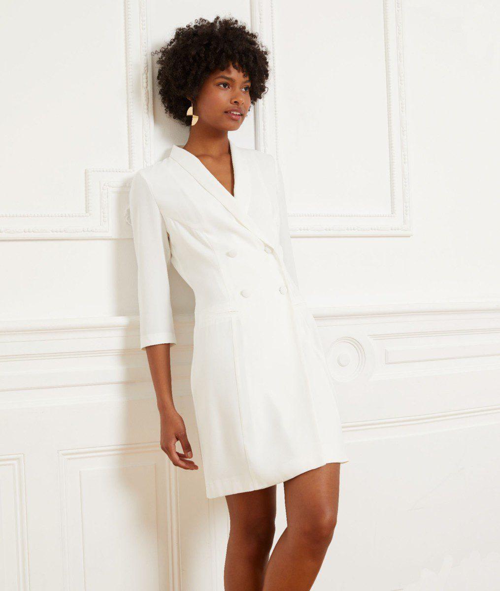 chercher acheter maintenant gros en ligne Etam - Robe smoking en crêpe envers satin - MILANE