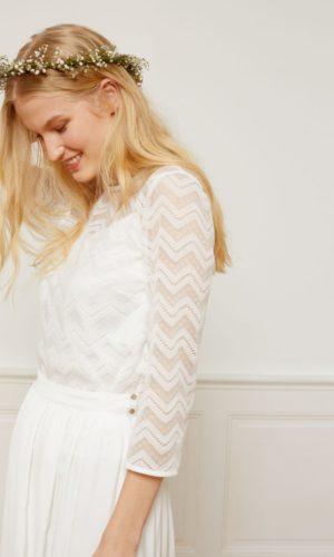 Etam - Crop top en dentelle géométrique - MYNA - Robe de mariée pas cher - The Wedding Explorer
