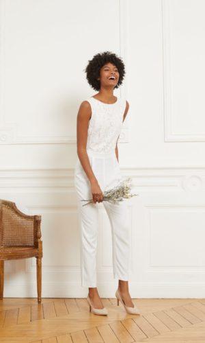 Etam - Combinaison pantalon à dos décolleté en crêpe et dentelle - GRETA - Robe de mariée pas cher - The Wedding Explorer