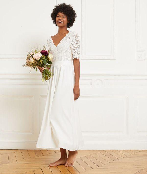 Etam - Robe longue dos décolleté en crêpe et dentelle - GRETA - Robe de mariée pas cher - The Wedding Explorer