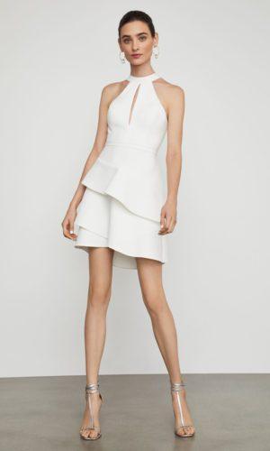 BCBG - Asymmetrical Ruffle Halter Dress - Robe de mariée pas cher - The Wedding Explorer
