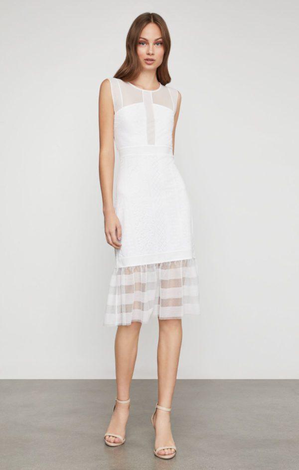 BCBG - Sleeveless Lace Inset Sheath Dress - Robe de mariée pas cher - The Wedding Explorer