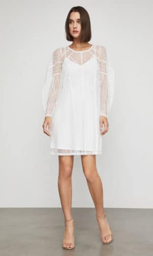 BCBG - Striped Mesh Shift Dress - Robe de mariée pas cher - The Wedding Explorer