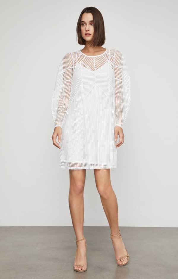 BCBG - Striped Mesh Shift Dress - Robe de mariée pas cher - The Wedding Explorer